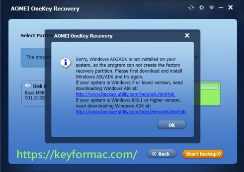 AOMEI OneKey Recovery Professional 1.6.4 Crack + Key Download